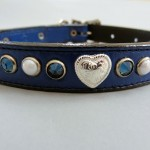 Heart and Pearl leather collars with Swarovski crystals