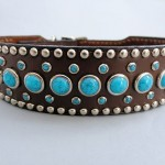 Jumbo Turquoise Leather Dog Collar 1 1/2 Inch