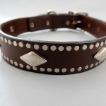 K9 Diamonds Leather Dog Collar with Diamond Ornaments
