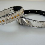Bone and Swarovski Crystal Dog Collars Rust Leather with Fire Opal Crystals