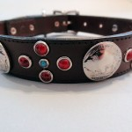 Buffalo Cross Choc Dog Collars with Red and Blue Turquoise
