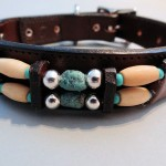 Turquoise Hair Choc Dog Collars Brown Leather with Blue Stones