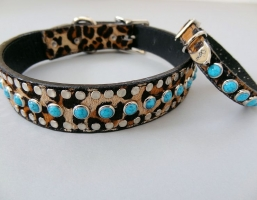 All Turquoise Baby Leopard Leather Collars
