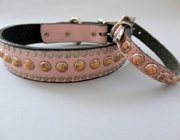 All Turquoise Pink Leather Collars