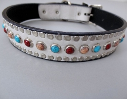 All Turquoise White Crocko Leather Collars