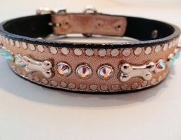 Bone and Crystal Champagne Metallic Collars
