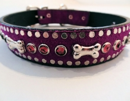 Bone and Crystal Purple Suede Collars