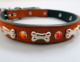 Bone and Crystal Rust Leather Collars