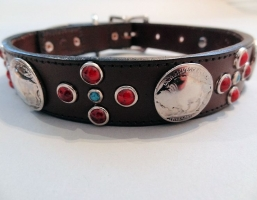 Buffalo Cross Choc Brown Leather Collars