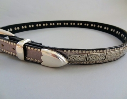 Conquistador K9 Squares Pewter Leather Belts
