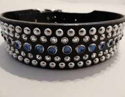 Diva Black Leather 1 1/2 Inch Collars