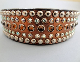 Diva Bronze Metallic Leather 1 1/2 Inch Collars