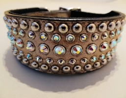 Diva Champagne Metallic Leather 1 1/2 Inch Collars