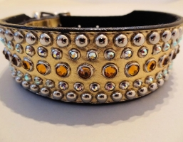 Diva Gold Metallic Leather 1 1/2 Inch Collars