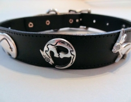 Funky Critter Black Leather Collars