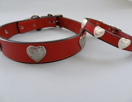 Heart Red Leather Dog Collars