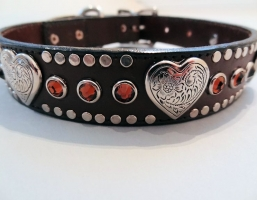 Heart and Crystal Brown Leather Collars