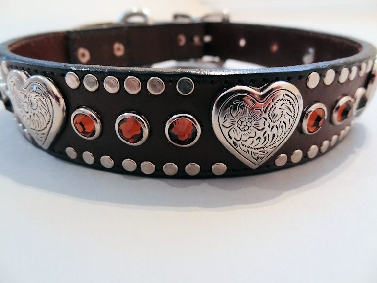 Heart and Crystal Brown Leather Collars with Swarovski Smoke Crystals