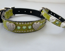 Heart and Crystal Green Crocko Leather Collars