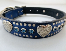 Heart and Crystal Indigo Leather Collars