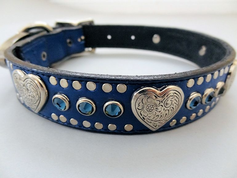 Heart & Crystal Indigo Collar with Swarovski Montana Blue
