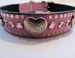 Heart and Crystal Lavender Leather Collars