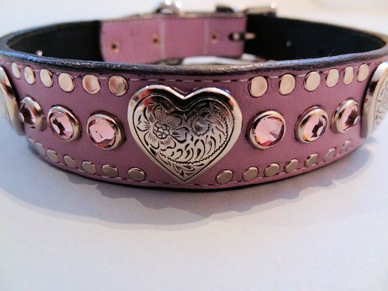 Heart and Crystal Lavender Dog Collar with Swarovski Amethyst Crystals