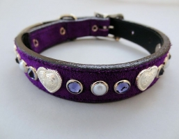 Heart and Pearl Purple Suede Collars