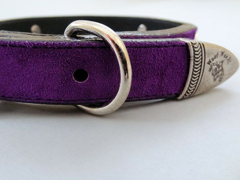 Heart and Pearl Purple Suede Collar with Swarovski Crystals