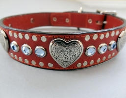 Heart and Crystal Red Leather Collars