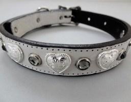 Heart and Crystal White Crocko Leather Collars