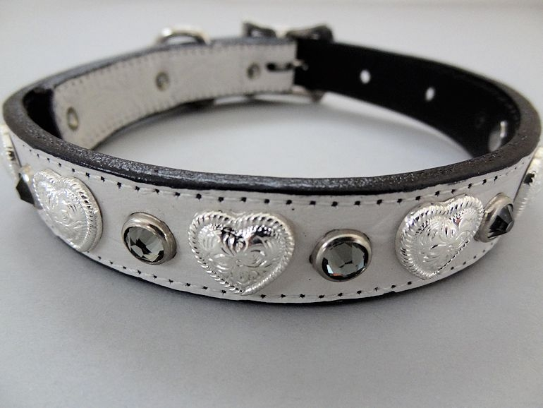 White Crocko Leather Collar With Swarovski Black Diamond Cyrstals
