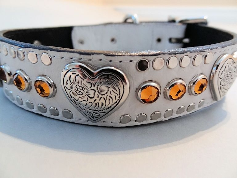 Heart and Crystal White Crocko Leather Dog Collars with Swarovski Topaz Crystals