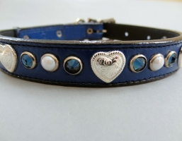 Heart and Pearl Indigo Leather Collars
