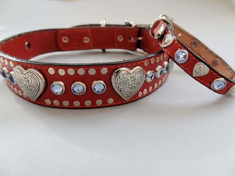 Heart and Swarovski Crystal Leather Dog Collars Red with Sapphire Crystals