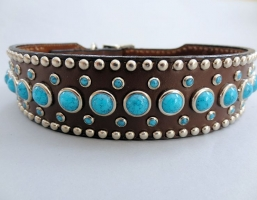 Jumbo Turquoise Brown Leather 1 1/2 Inch Collars