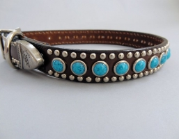 Jumbo Turquoise Brown Leather Collars
