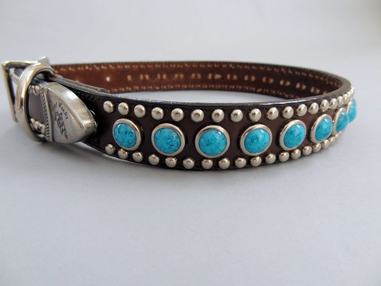 Jumbo Turquoise Leather Dog Collar