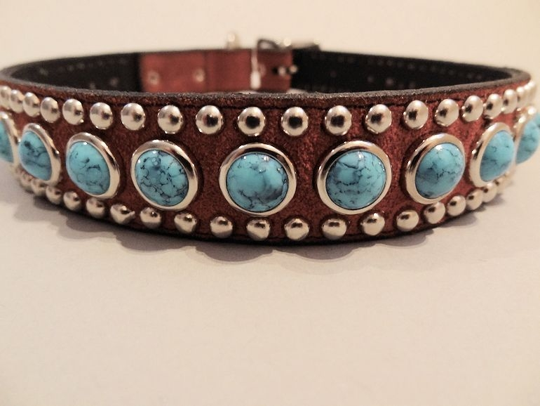 Jumbo Turquoise Rust Suede Dog Collar Made with Fine Italian Leather
