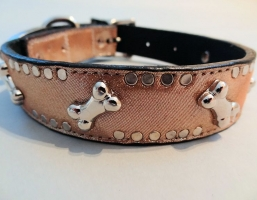 K9 Bone Champagne Metallic Leather Collars