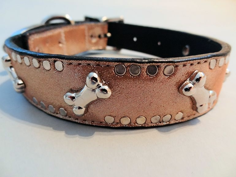 K9 Bone Champagne Metallic Leather Dog Collars