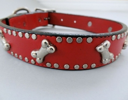 K9 Bone Red Leather Dog Collars