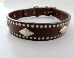 K9 Diamonds Brown Leather Collars