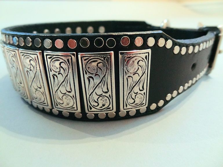 K9 Upright Leather Dog Collars with Chrome Engraved Ornaments