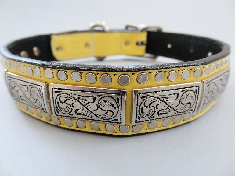K9 Squares Banana Leather Dog Collar