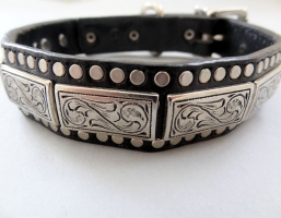 K9 The Barbarian Squares Black Leather Collars