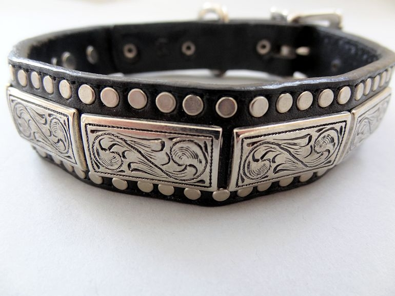 K9 Squares the Barbarian Dog Collar Black Fine Italian Leather