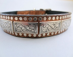 K9 The Barbarian Squares Bronze Leather Collars