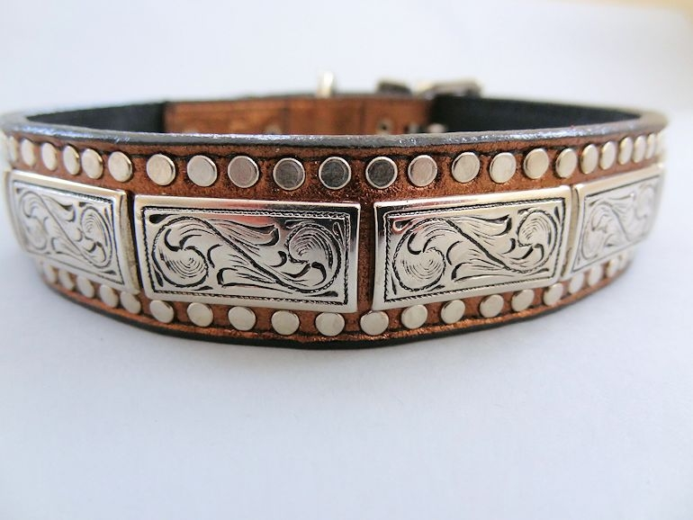 K9 Squares Bronze Metallic Leather Dog Collar