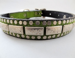 K9 The Barbarian Squares Olive Suede Collars